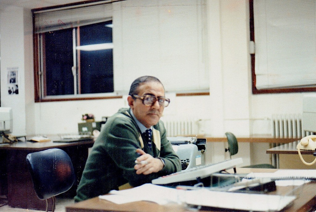 Delafuente na vella redacción do Faro. Maio de 1988